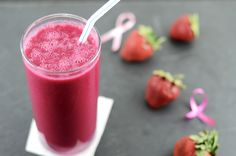 Strawberry and Beet Smoothie: 2 small beets (cooked/peeled), 1 1/2 cup strawberries, 2 medjool Dates (pitted), 1 cup almond milk, 1 cup ice