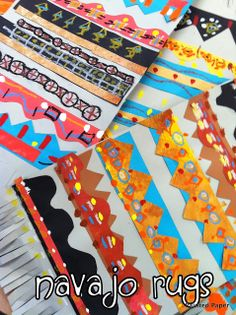 Patterned Navajo rugs - I like the oil pastels on atop of sponge paint