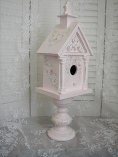 Pink Rose Birdhouse on Pedestal by Rose Brook Cottage, via Flickr