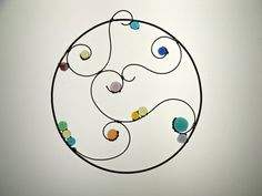 Swirling Bits Glass and Wire Suncatcher by newmoonglass on Etsy, $45.00