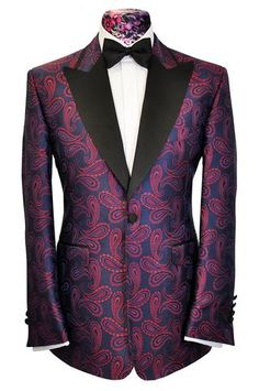 The Morgan Red Over Navy Paisley Dinner Jacket – William Hunt Savile Row