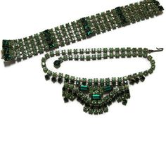 50s Dark and Light Green Rhinestone Necklace by VintageGypsies, $70.00