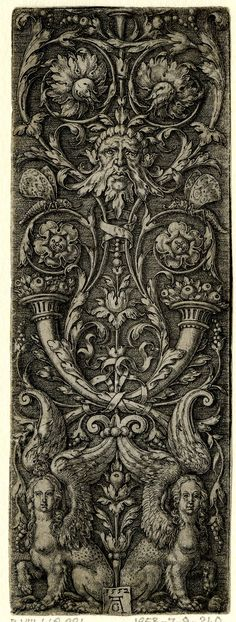 Upright ornament panel with a mask, two cornucopiae and sphinxes. 1552  Print made by Heinrich Aldegrever