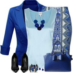 """Printed Pencil Skirt"" by Polyvore, i would probably wear a grey blouse to break up the blue."