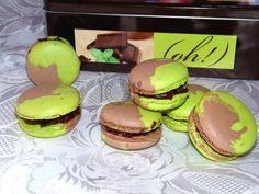 macarons bicolores menthe chocolat