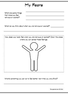 This children's anxiety worksheet will help prompt the client to identify, describe, and address their fears. Children are asked to list their fears, describe their thoughts about the fears, identify where in their body they sense the feeling, and finally to create a plan for dealing with fear.