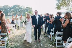 Bride and Groom Photography, Outdoor Wedding Ceremony, waterfront wedding, blue dresses, navy suit, anne barge bride