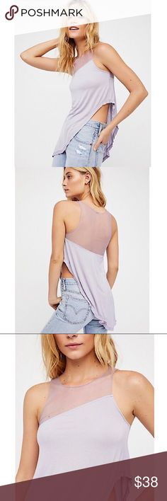 🆕 Free People Purple Asymmetrical Top NWT Beautiful Free people modern lilac top featuring a mesh design at the neckline and asymmetrical design at the burst and hem, sleeveless shell, relaxed fit, round collar, this top is a sure-fire Closet classic! NWT Free People Tops Tank Tops