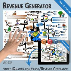 The Revenue Generator IQ Matrix explores key methods for generating more revenue in your business. The mind map breaks down 8 areas with the greatest revenue potential. These areas include generating leads, increasing conversions, introducing an integrated product suite, increasing your prices, increasing payment frequency, acquiring promotional partners, acquiring resellers, and acquiring complementary products.  #revenue #mindmap #mindmaps #iqmatrix Seth Godin, Lead Generation, To Focus, Helping Others, Mindfulness, Key, Business, Products, Unique Key
