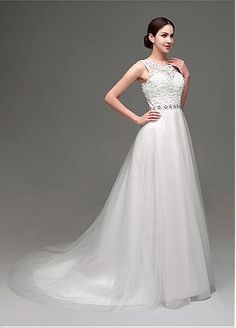 Buy discount In Stock Elegant Tulle Jewel Neckline A-Line Wedding Dresses With Lace Appliques at Dressilyme.com