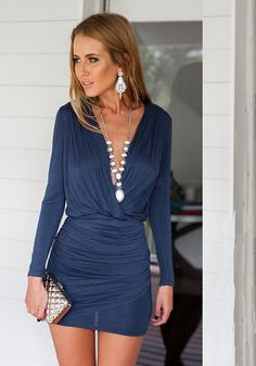 38da29006d Dark Blue Asymmetric Shoulder Ruffle Deep V-neck Mini Dress