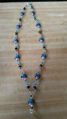Blue & purple beaded lanyard