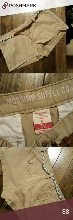 Khaki Shorts Mossimo shorts. Worn only a couple times. Comes with cute belt. Mossimo Supply Co. Shorts