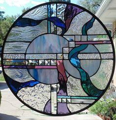 Southwest Abstract Stained Glass Window Hanging by StevesArtGlass