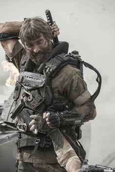 """Sharlto Copley as Kruger in """"Elysium"""" (2013)"""