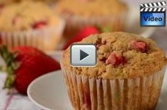 Strawberry Banana Muffins are full of mashed bananas and bite sized pieces of fresh strawberries. Absolutely Delicious.  From Joyofbaking.com With Demo Video