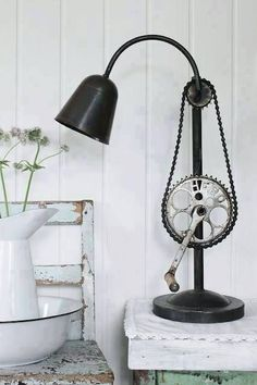 Industrial pulley bike chain lamp