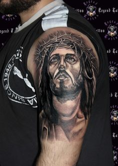 jesus of nazareth tattoo,www.legendtattoo.gr,legend tattoo studio,jesus tattoo,religious tattoo portrait tattoo realistic tattoo xristos tattoo,jesus xristos tattoo isous tattoo thriskeftiko tattoo maniki tattoo realistiko tattoo.