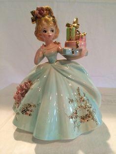 "Josef Originals - From the ""Favorite Things"" series Vintage Josef Originals figurine - girl holding presents -NEED IT BAD!"