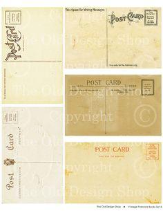 Vintage POSTCARD Backs Aged Grunge Collage by TheOldDesignShop, $3.00