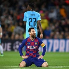 Lionel Messi of FC Barcelona reacts during the UEFA Champions League group F match between FC Barcelona and Slavia Praha at Camp Nou on November 2019 in Barcelona, Spain. Leo Mesi, Messi Photos, Camp Nou, Uefa Champions League, Lionel Messi, Fc Barcelona, Cristiano Ronaldo, Matcha, Tired