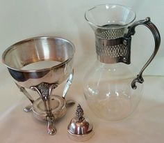 Vintage Silver Coffee Tea Pot Glass Carafe with Stand burner Lid Handle Warmer