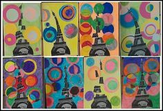 Changer la Tour Eiffel pour une fusée.  Les cercles représentent les planètes.