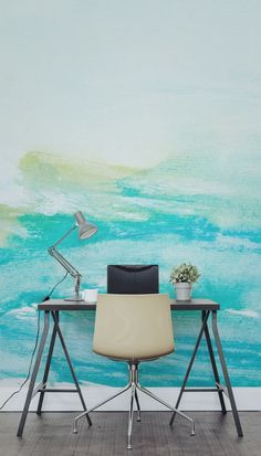 Envious of dreamy workspaces? Get on the latest design trend with this watercolour wallpaper mural. Loose and lively paint brush strokes of turquoise blue merge into a light green. Giving your home office a creative vibe and artistic flair, making you act Watercolor Wallpaper, Watercolor Walls, Wall Wallpaper, Tropical Decor, Colorful Decor, Room Interior, Interior Design Living Room, Discount Bedroom Furniture, Home Office Decor