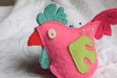 pink chicken pin cushion  recycled felted wool by ThreadShed, $18.00