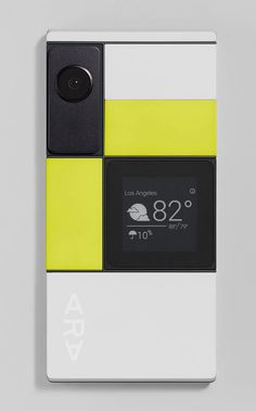 Phone with color blocking. Black white yellow