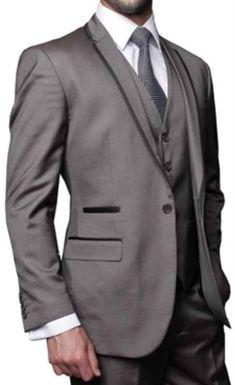 Mens 3 Piece Modern Fit Shark Skin Fashion Suit Grey $189 http://goo.gl/UUqhKw