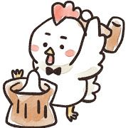 餅つきをするニワトリのイラスト(酉年)