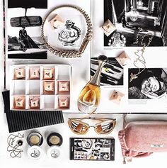 Margaret Zhang shoots beautiful jewellery by Au Revoir Les Filles in this fashion flatlay inspired by blush pinks, monochromes and modern romance. Shop fine jewellery now.