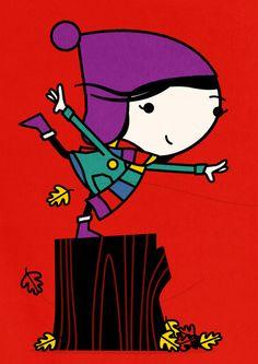Spencer Wilson - Balancing  Tiphaine-illustration  #autumn #kids