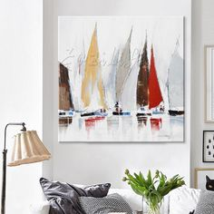 Hand painted boat Canvas Oil painting Wall Pictures for Living room wall decor art canvas painting palette knife boat 46