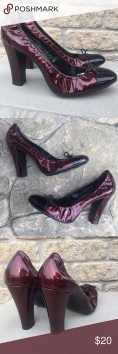 BCBGirls Patent Ruby Ballet Ballerina Pump Heel Cute twist on the ballet flat! Rich deep ruby red patent leather, made in Brazil.  Black toe and bow accents.4 inch heel. Barely worn! BCBGirls Shoes Heels