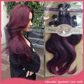 """Extension Hair Sintetico 16"""" 18"""" 20"""" Synthetic Weaves Hair For Black Women Long Ombre Synthetic Hair Extensions with Closure"""