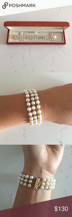Authentic Pearl Bracelet Two tone gold and silver pearl bracelet. Like new condition, worn twice on special occasions. A classic piece of jewelry. Jewelry Bracelets