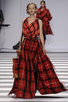 red & red - Tartan Plaid cowl blouse & maxi skirt