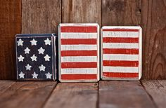 USA FLAG BLOCKS hand painted wood blocks by meganrogne on Etsy, $9.00