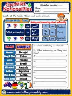 #COUNTRIES AND NATIONALITIES - WORKSHEET 6