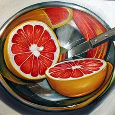 Red Grapefruit-Bowl Series Still Life by Vic Vicini on ARTwanted