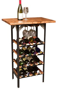 This Reclaimed Tasting Table and Wine Rack is the perfect addition to your tasting party or gathering. The wood and metal rack holds 24 bottles and 6 wine glasses. French Standing Table and Rack is crafted from hand worked steel and authentic retired wine barrel staves.  Made in the USA.