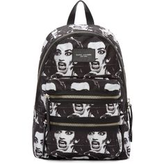 Marc Jacobs Black and White Maria Callas Backpack (305 CAD) ❤ liked on Polyvore featuring bags, backpacks, marc jacobs, leather zipper backpack, marc jacobs backpack, marc jacobs knapsack and genuine leather backpack