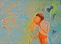 Looking for dimensions of love / La recherche de dimensions de l'amour - Painting,  70x50x2 cm ©2015 przez Maga Smolik -  Malarstwo