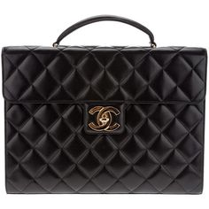 CHANEL VINTAGE quilted briefcase ($3,470) ❤ liked on Polyvore