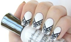 30 Astonishingly Pretty Lace Nail Art Designs | Bewitching white and black lace nails  http://www.feminiya.com/30-astonishingly-pretty-lace-nail-art-designs/