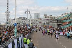 Runners approaching the finish line on Marine Parade.