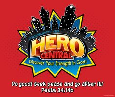 Vacation Bible School 2017 VBS Hero Central Large Logo Poster ...
