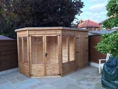 corner summer house and storage combo modern style